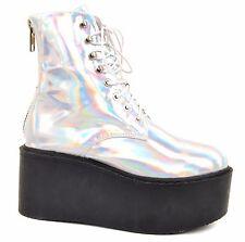 UNIF Women's Gammaray Holographic Platform Boots Silver Size UK 4,5 BCF611