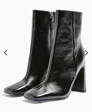 NEW TOPSHOP REAL LEATHER BLACK IDOL HALIA ANKLE BOOTS UK SIZE 6 EUR 39  RRP £79