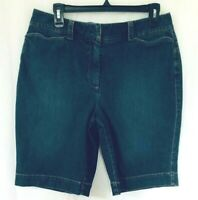 Talbots Womens Denim Bermuda Shorts Sz 12P  Blue Jean  STRETCH  High Waist  MOM