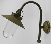 Applique murale en laiton bruni verre lampe d'extérieur antique