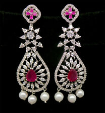 Cubic Zirconia Exclusive Designer Ruby Dangle Earrings No Reserve Auction M 2