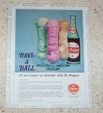 1966 old ad - Dr Pepper soda pop - ice cream float - vintage PRINT ADVERTISING