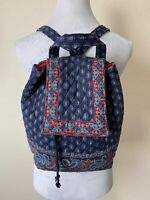 Vera Bradley Backpack Classic Navy Floral Vintage Indiana Bag Made In USA