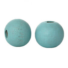 50 perles en bois 6mm couleur Bleu Clair 6 mm creation colier, attache tetine