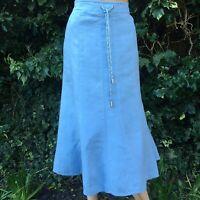 Classic Viyella Baby Blue Linen Flared Midi Skirt Size 14