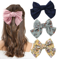 Womens 2 Layers Satin Hairpin Oversized Girls Butterfly Bow Barrettes Hair Clip