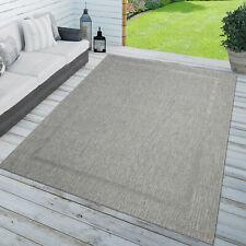 Teppich In-& Outdoor Balkon Küchenteppich Einfarbig Sisal Design Bordüre Grau