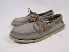 Men's 10.5 M Sperry A/O 2 Eye Light Gray Leather Boat Shoes Top Sider