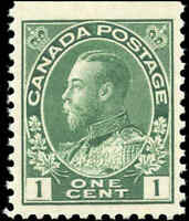 Canada Mint NH BOOKLET SINGLE 1911 F-VF Scott #104as 1c Admiral KGV Stamp