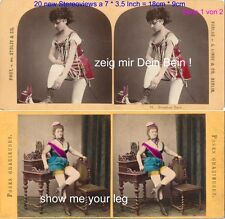 Muéstrame tu pierna! 20 eróticos estéreo fotos semi nude para 1860 - 1900, lot 1