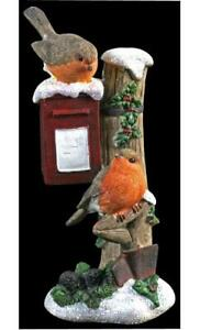 Christmas Robins On Postbox With Glitter Ornament Resin Contrstruction Xmas