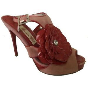 Alannah Hill Big Red Poppy Open Toe Suede Leather Heels Size 7