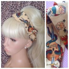 NATURAL BEIGE TATTOO BENDY WIRED SCARF HAIR HEAD BAND RETRO ROCKABILLY PIN UP