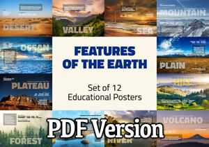 FEATURES OF THE EARTH - 12 EDUCATIONAL POSTERS / GEOGRAPHY - FREE DELIVERY