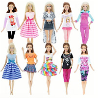 SET of 10 Doll Dresses Evening Party Gown Fashion Clothes Outfit for Barbie Doll