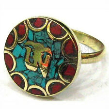 Delicate Tibetan Turquoise Red Coral Inlays Carved Golden Mantra OM Amulet Ring