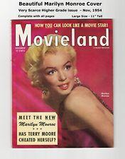 BEAUTIFUL MARILYN MONROE COVER & PICS - 1954 MOVIELAND - SCARCE & VERY NICE