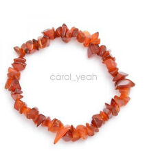 Red carnelian chips bracelet crushed stones beaded stretch bangle hand chain new