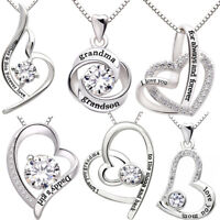 Silver Engraved Love Heart Pendant Necklace Jewelry for