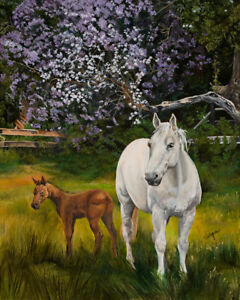 Virgia West New Beginnings Horses Original Oil Painting on Canvas 20x16
