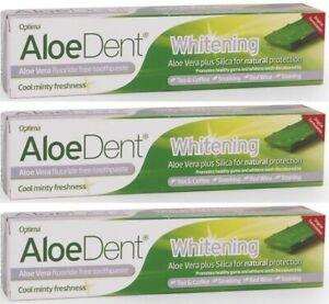3x Optima Aloe Dent Whitening Aloe Vera Fluoride Free Toothpaste 100ml