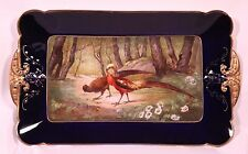 MAGNIFICENT FRENCH LIMOGES HANDPAINTED COBALT TRAY PLATTER WITH EXOTIC BIRDS
