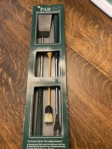 Golf Club Style BBQ Grill 3 Piece Tool Set Spatula, Fork, Brush NIB
