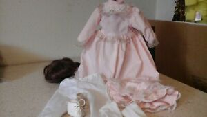"""Vintage Doll WIG + DRESS Shoes for 14"""" doll"""