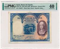 SPAIN banknote 500 Pesetas 1927 PMG XF 40 Extremely Fine