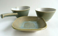 MCM Knabstrup Denmark Pottery Stoneware Stentøj 3 Piece Lot Cups & Small Plate