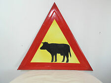 ATTENTION ANIMALS 'COWS ON THE ROAD' VINTAGE TRAFFIC PORCELAIN ENAMEL SIGN PLATE