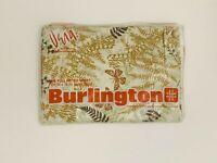 VINTAGE Burlington Sheet VERA FULL FITTED Fern Butterfly Tan Khaki Brown Percale