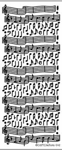 PEEL OFF STICKERS - MUSIC - CARD MAKING - CRAFTING - SILVER AND GOLD - 592