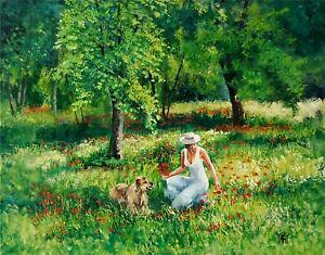 YARY DLUHOS ORIGINAL OIL PAINTING Spring Green Meadow Flowers Woman Figure Dog