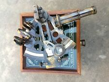 ANTIQUE BRASS VICTORIAN OLD GPS SYSTEM NAUTICAL GERMAN SEXTANT W/ WOODEN BOX