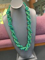"Vintage Bohemian 26"" WOW Woven Aqua Green Glass Colored seed bead Bib necklace"