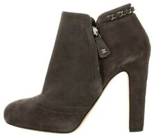 $1425 NEW Chanel Grey Taupe Suede Ankle CC CHAIN Boots Booties Shoes 38.5