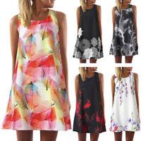 Women Lady Summer Casual Dress Maxi Printing Party Evening Casual Mini Dress P