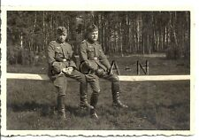 WWII German RP- Army Soldier- Uniform- Overseas Hat- Sit on Fence Rail- 1940s