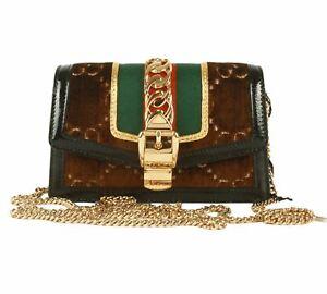 Authentic Gucci Sylvie Super Mini GG Chain Brown Velvet Clutch