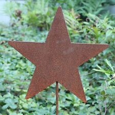 Rusty 5 Pointed Star Silhouette Garden Stake Lawn Ornament - Amish Made in USA