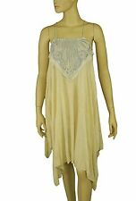 103128 New Free People Embroidered Patchwork Asymmetrical Beige Tunic Top XS
