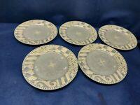 """Vintage Sango """"Monterey"""" Set/5 Dessert/Salad Plates #4897 Retired Pattern 2001"""