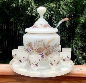 Moser Czech Bohemian Opaline Art Glass Enameled Punch Bowl and 9 Punch Cups