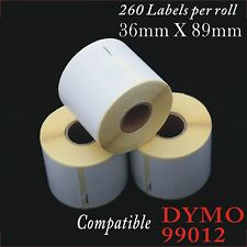 12 ROLLS SD99012 DYMO COMPATIBLE LARGE ADDRESS LABELS 89x36mm 99012 SEIKO LABEL
