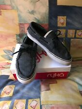 Men s Vans Deck Skate Boat Shoe Black Herringbone Canvas Black White Sole 10 bbaeda24f