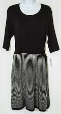 NWT $48 FRESHMAN Sweater Dress Girl XL Black White Geo Print Cotton Rayon Preppy