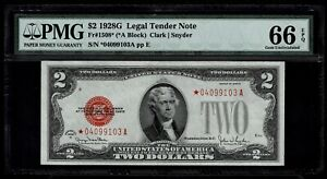 1928 $2 Dollar Beautiful Note with Red Seal and Stars Grade 66EPG Gem