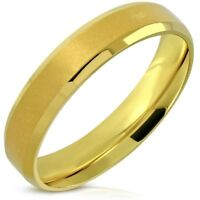 Yellow Gold PVD Comfort Fit 5mm Wedding Band Surgical Steel Select Size