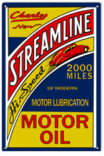 Streamline Charles Motor Oil Reproduction Man Cave Metal Sign  18 x 30 In RVG230